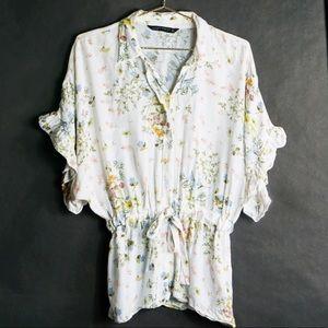 Zara's Botanical Ruffled Kimono Button Down Top M